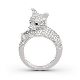"""Jeulia """"Always By My Heart"""" Puppy Sterling Silver Ring"""
