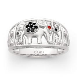 """Jeulia """"Lucky Elephant"""" Sterling Silver Band"""