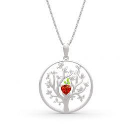 """Jeulia """"Tree of Life"""" Heart Cut Sterling Silver Necklace"""