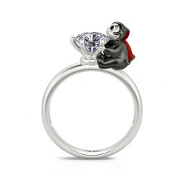 """Jeulia Hug Me """"Love at First Sight"""" Vampire Round Cut Sterling Silver Ring"""
