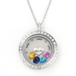Jeulia Engraved Floating Locket Necklace With Charms And Birthstones Stainless Steel