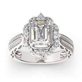Jeulia Vintage Halo Emerald Cut Sterling Silver Ring