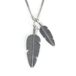 Jeulia Feather Sterling Silver Men's Necklace