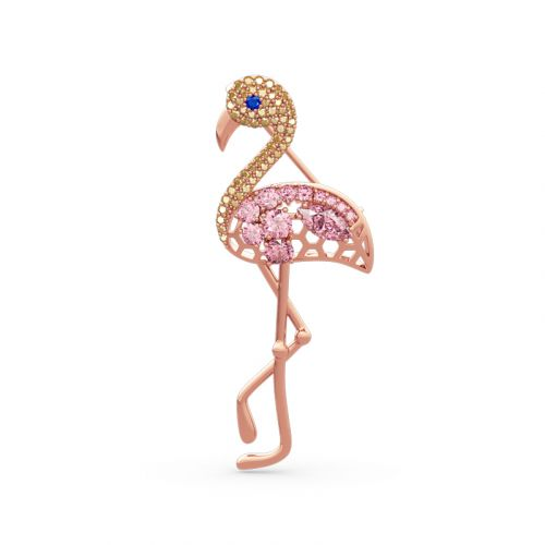 "Jeulia ""Fiery Passion"" Flamingo Design Sterling Silver Brooch"