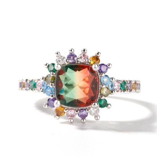"""Jeulia """"Blazing with Colour"""" Cushion Cut Sterling Silver Ring"""
