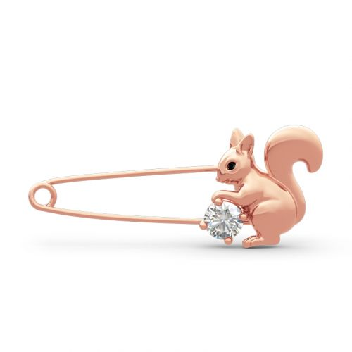 """Jeulia """"Lovely Squirrel"""" Round Cut Sterling Silver Brooch"""