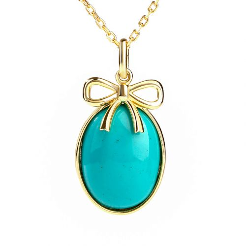 Jeulia Bow-knot Design Turquoise Pendant Sterling Silver Neckalce