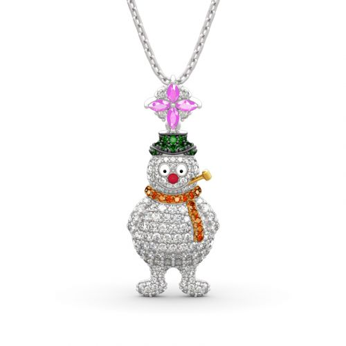 "Jeulia ""Merry Christmas"" Snowman Design Sterling Sliver Necklace"