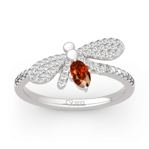 """Jeulia """"Natural Wonder"""" Firefly Design Oval Cut Sterling Silver Ring"""