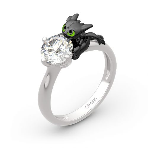 """Jeulia Hug Me """"Your Dragon"""" Round Cut Sterling Silver Ring"""