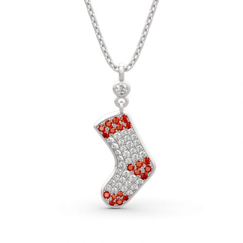 """Jeulia """"Christmas Stocking"""" Sterling Silver Necklace"""
