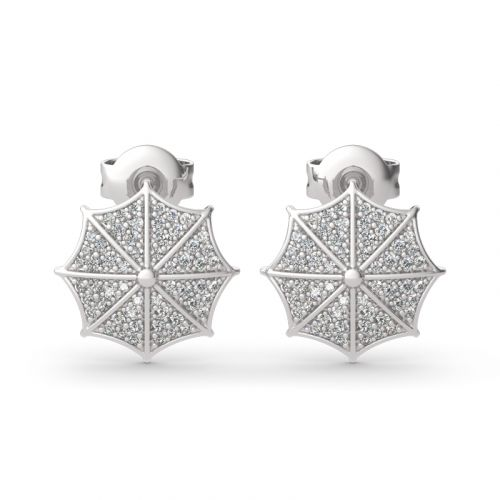 "Jeulia ""Rainy Day"" Umbrella Sterling Silver Stud Earrings"