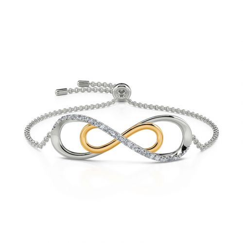 Jeulia Double Layer Infinity Sterling Silver Bracelet