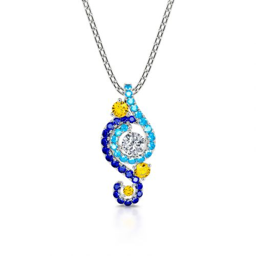 """Jeulia """"Dreamy Secret"""" The Starry Night Inspired Sterling Silver Necklace"""