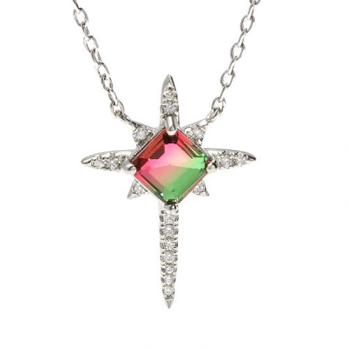 """Jeulia """"Endless Light """" North Star Princess Cut Watermelon Sterling Silver Necklace"""