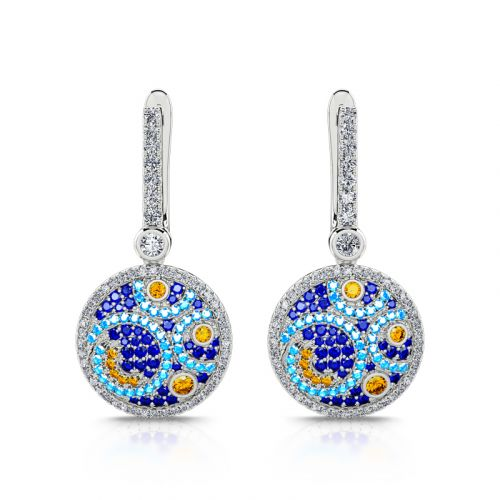 """Jeulia """"Pure Night"""" The Starry Night Inspired Sterling Silver Earrings"""