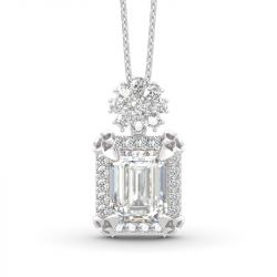 Jeulia Vintage Flower Halo Emerald Cut Sterling Silver Pendant Necklace
