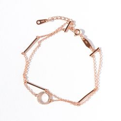 Jeulia Double Layer Simple Circle Sterling Silver Bracelet