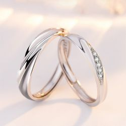 Jeulia Stylish Adjustable Sterling Silver Couple Rings