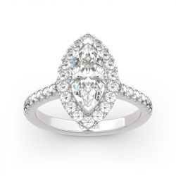 Jeulia Halo Marquise Cut Sterling Silver Ring