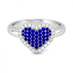 Jeulia Heart Shape Round Cut Sterling Silver Ring