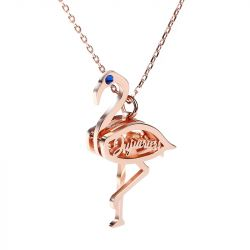 Jeulia Flamingo Personalized Sterling Silver Necklace