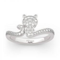 Jeulia Simple Cat Sterling Silver Ring