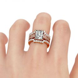 Jeulia 3PC Radiant Cut Sterling Silver Ring Set