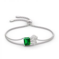 Jeulia Leaf Design Emerald Cut Sterling Silver Bracelet