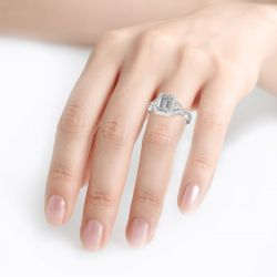 Jeulia Leaf Design Emerald Cut Sterling Silver Ring