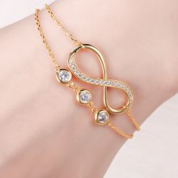 Jeulia Double Layer Infinity Sterling Silver Bracelet With Birthstone