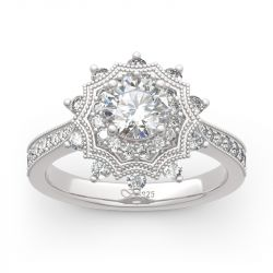 """Jeulia """"Winter Love"""" Snowflake Round Cut Sterling Silver Ring"""