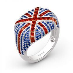 """Jeulia """"The Best Memories in UK"""" British Flag Sterling Silver Ring"""