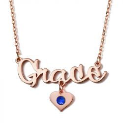 "Jeulia ""Be Together"" Personalized Name Necklace With Birthstone"