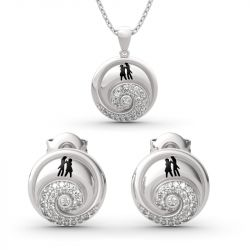 """Jeulia """"Romance in the Moonlight"""" Jack Skellington and Sally Sterling Silver Jewelry Set"""