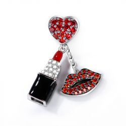 """Enthusiasm"" Red Stone Lipstick Charm With Red Lips Sterling Silver Pendant"