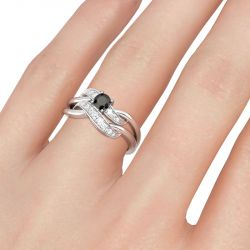 Jeulia Twist Design Round Cut Sterling Silver Ring