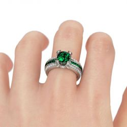 Jeulia Interchangeable Round Cut Created Emerald Ring Set