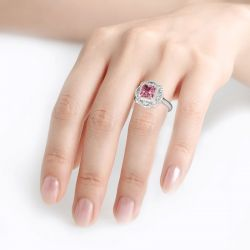 Jeulia Floral Radiant Cut Sterling Silver Ring