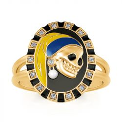 """Jeulia """"Skull with a Pearl Earring"""" Two Tone Sterling Silver Ring"""