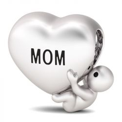 """""""I love You Mom"""" Sterling Silver Heart Shaped Bead Charm"""