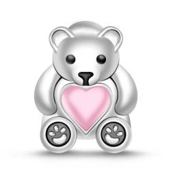 """"""" My Heart is Always with You"""" 925 Sterling Silver Bear Charm"""