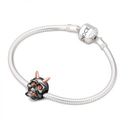 Two Tone Skull Charm Sterling Silver