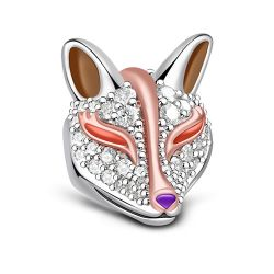 Two Tone Fox Charm Sterling Silver