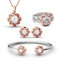 Jeulia Twist Halo Round Cut Sterling Silver Jewelry Set