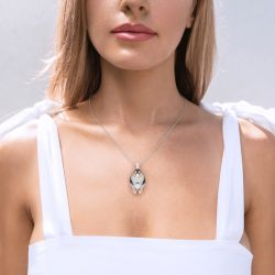 Jeulia Father/Mother & Baby Penguin  Sterling Silver Necklace