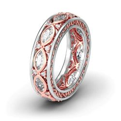 Jeulia Scrollwork Two Tone Sterling Silver Women's Band