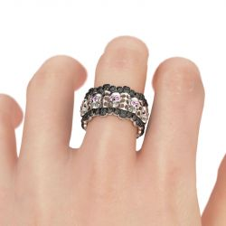 Jeulia Hollow Round Cut Sterling Silver Skull Ring