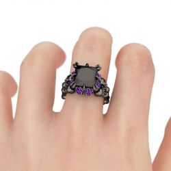 Jeulia Black Princess Cut Sterling Silver Four Skull Ring