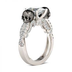 Jeulia Twist Milgrain Princess Cut Sterling Silver Skull Ring
